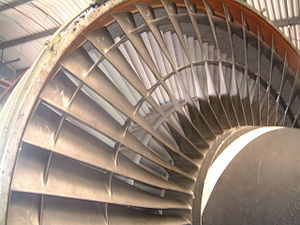 The many bladed fan from a powerful jet engine...