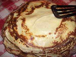 English: A heap of pancakes in Sweden. My moth...