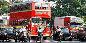 A modern Ashok Leyland BEST double decker bus