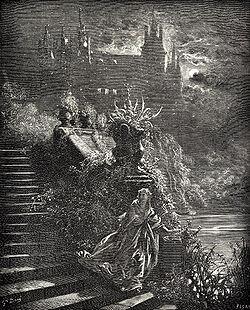 «De mille chagrins l'âme pleine,Elle alla trouver sa marraine».Illustration de Gustave Doré (1867)