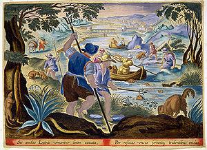 Dutch fishermen using tridents in the 17th century