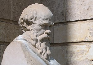 Cropped image of a Socrates bust for use in ph...