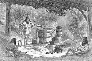 Caption below picture: 'Wallachians distilling...