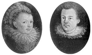 Portraits of Kepler and his wife in oval medal...