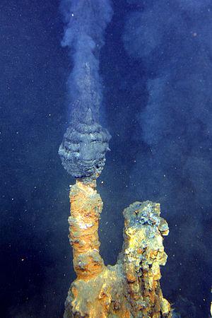 Fumarolas negras. Algunas teorias  afirman que la vida surgió en las proximidades algún tipo de fuente hidrotermal submarina.