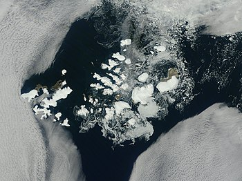 Franz Josef Land, NASA satellite image, August...