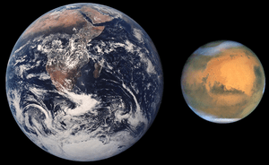 Size comparison of Earth and Mars.