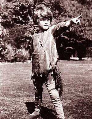 Michael Llewelyn Davies dressed as Peter Pan a...