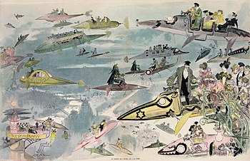 Print shows a futuristic view of air travel ov...