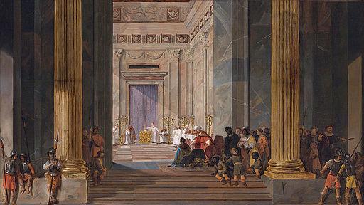 The Queen of Sheba before the temple of Solomon in Jerusalem, by Salomon de Bray (1597-1664)