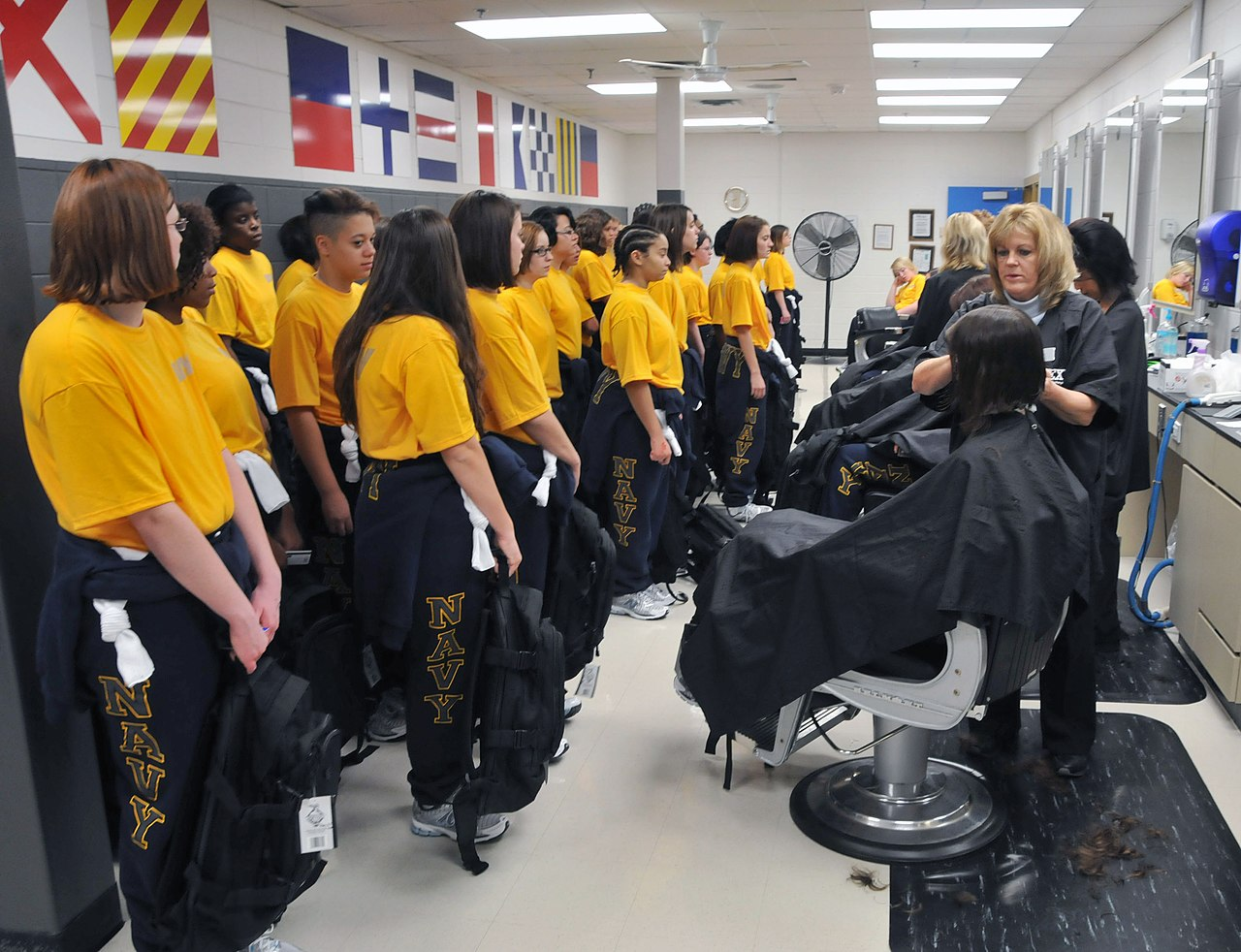 FileUS Navy Recruits Receive Their First Haircuts