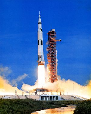 A Saturn V launch vehicle sends Apollo 15 on i...