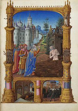 Job soporta los improperios de sus amigos (página miniada de Les Très Riches Heures du duc de Berry, f82r, Musée Condé, Chantilly).