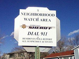 Neighborhood watch sign in Jefferson County, C...