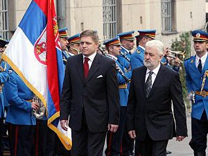 Robert Fico with Mirko Cvetković during the state visit to Serbia