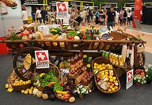 Cart with Swiss foodstuff Français : Nourritur...