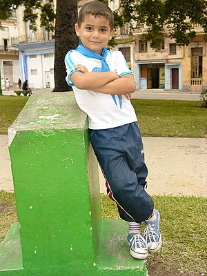 English: Young boy in confident pose, Centro H...