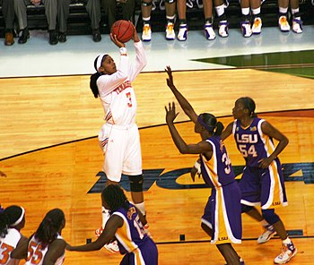 Tournament Most Outstanding Player Tennessee forward Candace Parker shoots over Louisiana State center Sylvia Fowles in the national semifinals.