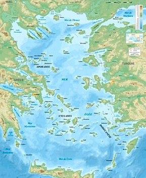 Aegean Sea map bathymetry-fr