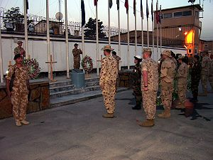 Camp Eggers, Kabul, Afghanistan on Anzac Day, ...