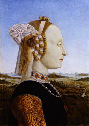 Battista Sforza, Duchess of Urbino. Portrait b...