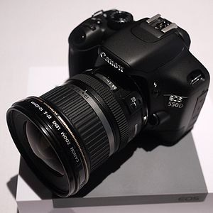 A Canon EOS 550D DSLR with a Canon EF-S 10-22m...