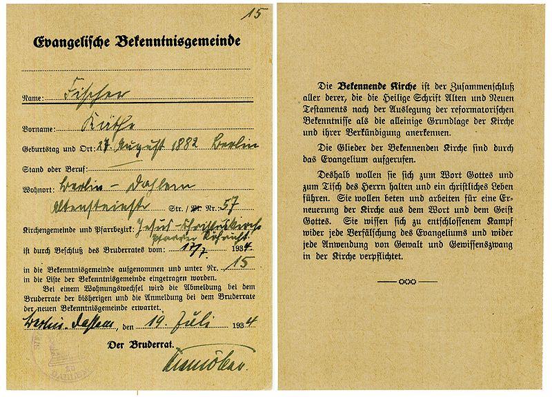 Datei:Confessing Church.Document.Bekenntnisgemeinde.Mitgliedsdoku.jpg