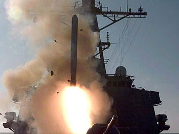 A Tomahawk cruise missile (TLAM) is fired from...