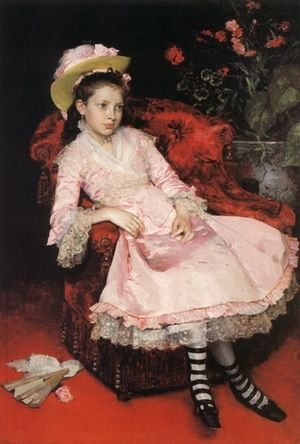 Portrait of a young girl in pink dress.