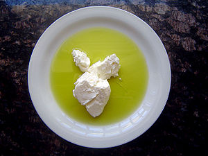 Strained yogurt with olive oil.