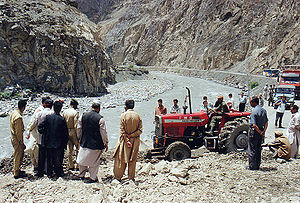 Landslides block the road (Karakoram Highway) ...