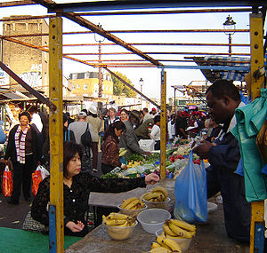 Dalston's Ridley Road market, October 2005.