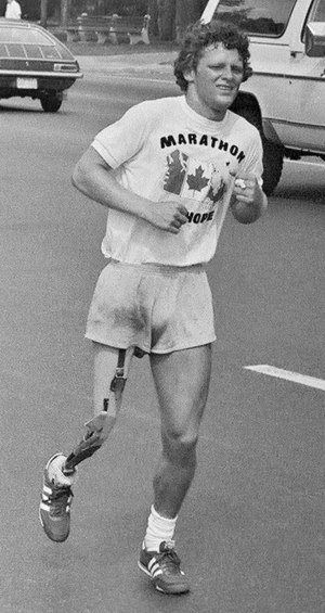 Photo of Terry Fox, Canadian cancer fund-raise...