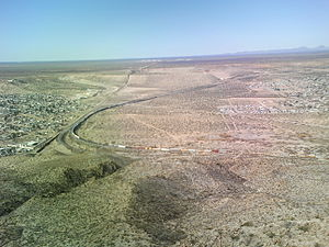 English: The start of the border fence between...