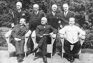 Sitting (from left): Clement Attlee, Harry S. ...