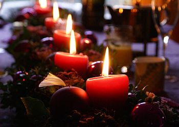 christmas candles on the morning table