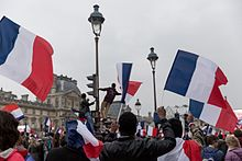 Supporters of Macron celebrating his victory at the Louvre on 7 May