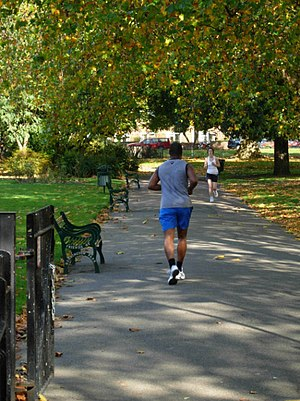 English: Jogging in Kennington Park In common ...
