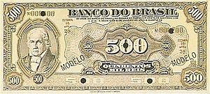 Português: Cédula de 500 mil réis, emitida pel...
