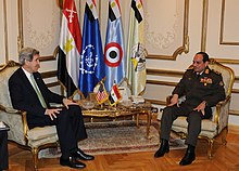 US Secretary of State John Kerry meets with Egyptian Defense Minister el-Sisi in Cairo, 3 March 2013
