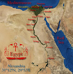 Location of Alexandria on the map of Egypt. Al...