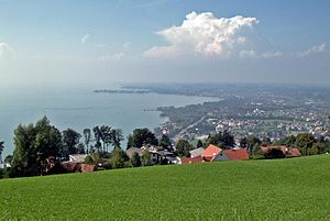 View from mount Pfänder over Bregenz (Austria)...