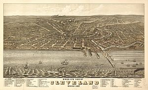 English: Birds eye view of Cleveland, Ohio in ...