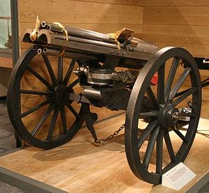 A photograph of a British 1865 Gatling gun at ...