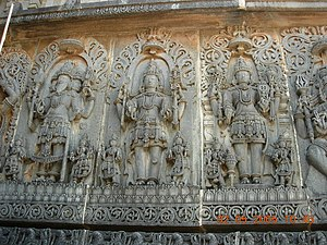 Temple carving at Hoysaleswara temple represen...