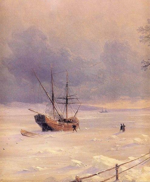 Archivo: Ivan Aivazovsky Constantinovich - Bosphorus Frozen Bajo Nieve (detalle) JPG.