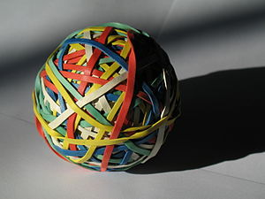 English: Rubber band ball (this is a new versi...