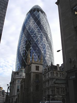 Photograph of The Gherkin behind the church of...