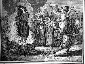 Burning at the stake. An illustration from an ...