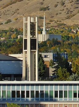 BYU Bell Tower with Provo Temple